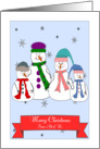 Merry Christmas From All of Us, Snowman Family Whimsical Primitive Art card