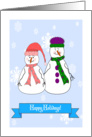 Happy Holidays General, Mister and Misses Snowman, Whimsical Art card
