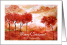 Merry Christmas to Dear Grandfather, Abstract Landscape Art, Red Trees card