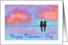 Happy Valentine's Day General, Abstract Art Little Black Birds, Sunset card