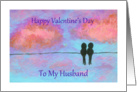 Happy Valentine's Day Husband, Abstract Art Little Black Birds, Sunset card