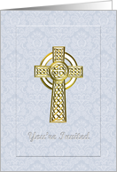Christening Invitation, Blue Damask Panel with White & Gold Cross card
