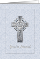 Blue Damask Panel with Silver Cross Christening Invitation card