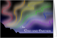 Rainbow Northern Lights: Dad and Partner Christmas card