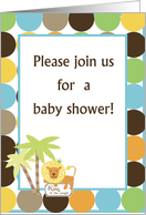 King of the Jungle Baby Shower Invitation card