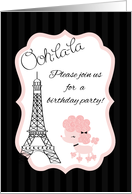 Paris Pink Poodle Eiffel Tower Birthday Party Invitation card