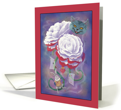 Note Card - Painted Roses Alice's Adventures in Wonderland card