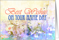 Best wishes name day, meadow of daisies card