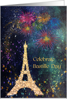 Bastille Day with Eiffel Tower & Fireworks card