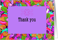 Thank You, Baby Shower Gift, Butterfly Design in Purples card