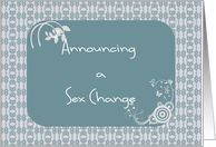 Sex Change Announcement, Teal Digital Design card