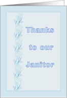 Thank You Card for Janitor, Light Blue with Leaf Design card