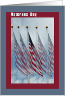 Veterans Day with 5 Flags, Thank You card