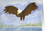 Bald Eagle in the Mountains Painting card