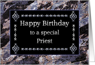 Happy Birthday Priest Marble Black and Silver card