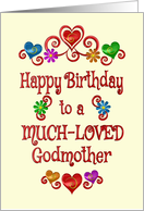 Happy Birthday Godmother Hearts and Flowers card