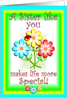 Sister's Day Flowers card