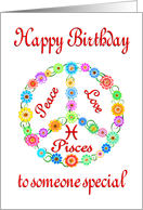 Happy Birthday Pisces Astrology Zodiac Birth Sign card