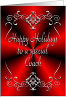 Coach Happy Holidays Red and Silver card