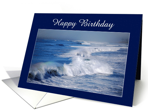 Happy Birthday Rainbow Over Ocean Waves card (556144)