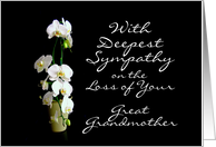 Deepest Sympathy Great Grandmother White Orchids card