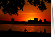 Sunset on the Charles – Boston's Esplanade card