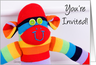You're invited BIRTHDAY, colorful sock monkey card