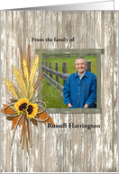 Sympathy Photo Memorial Barn Wood Wheat Farmer with Sunflowers card