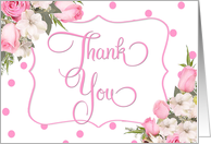 Pink Rose Bouquet Baby Shower Thank You card
