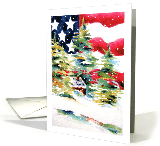 Patriotic American Flag Christmas card (416469)