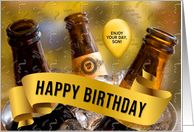 for Son Funny Beer Themed Birthday with a Bucket of Beer Custom card