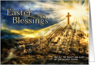 Spirtual Easter Blessings Golden Cross on the Hill card