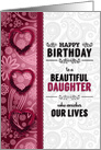 Daughter's Birthday from PARENTS Pink Hearts and Paisley card