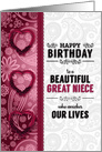 for Great Niece Birthday Pink Hearts and Paisley from BOTH card
