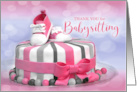Thank You for Babysitting Baby Girl Pink Polka Dots card