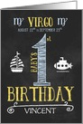 Virgo Baby Boy's 1st Birthday August 22nd to September 23rd card
