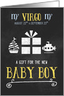Gift for Baby Boy Virgo Chalkboard Blue and Yellow card