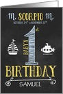 Scorpio Baby Boy's 1st Birthday October 24th to November 22nd card