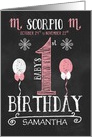 Scorpio Baby Girl's 1st Birthday October 24th to November 22nd Zodiac card