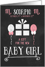 A Gift for Baby Girl Scorpio in Chalkboard Theme Pink and White card