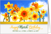 March Birthday Daffodils with Butterflies card