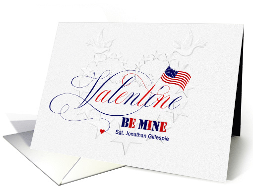 Military Valentine's Day Embossed Look with American Flag Custom card