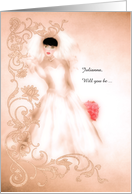 Will You Be My Bridesmaid? Vintage Bride in Peach Custom card