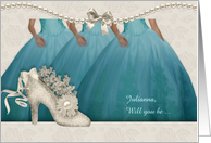 Best Friend Maid of Honor Request in Aqua and Cream Custom card