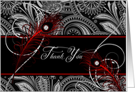 Thank You Black and Red Paisley with Peacock Feathers Blank card