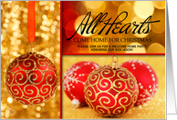 Welcome Home Party Red and Gold Christmas Ornaments card