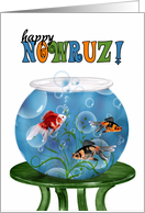 Nowruz Persian New Year Goldfish Bowl on a Table card