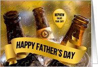for Nephew on Father's Day Football and Beer Theme card