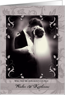 Custom Host Couple Request for Wedding Faded Sepia Tones card