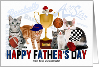 For Dad on Father's Day from All of Us Sport Theme Cat Lover card